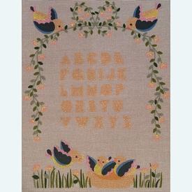ABC Birds - bundel van geschilderd stramien + borduurwol, te borduren in platsteek |  | Artikelnummer: rp-010-066-bundel