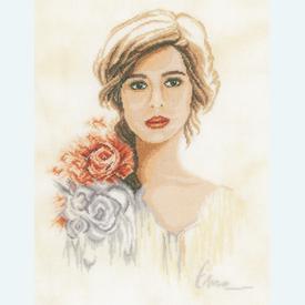 Romantic Lady - borduurpakket met telpatroon Lanarte |  | Artikelnummer: ln-158331