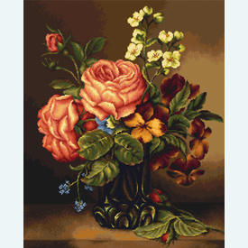 Vase of  Roses and Flowers - kruissteekpakket met telpatroon Luca-S |  | Artikelnummer: luca-b491