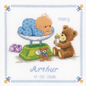 Baby and Bear - borduurpakket met telpatroon Vervaco |  | Artikelnummer: vvc-21871r