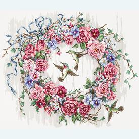 Hummingbird Wreath - borduurpakket met telpatroon Letistitch |  | Artikelnummer: leti-990