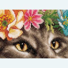Maine Coon in Flowers - Lanarte borduurpakket met telpatroon - Aida |  | Artikelnummer: ln-191867