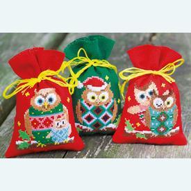 Assortiment kruidenzakjes - Christmas Owls - Handwerkpakketjes met telpatroon Vervaco |  | Artikelnummer: vvc-155943