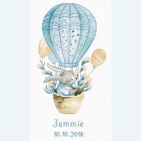 Rabbit in a Flying Balloon - geboortepakket met telpatroon Luca-S |  | Artikelnummer: luca-b1150