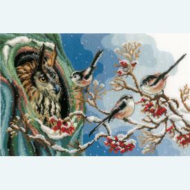 Owl and Long-Tailed Tits - kruissteekpakket met telpatroon Vervaco |  | Artikelnummer: vvc-157405