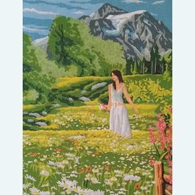Rop the Prairy - bundel van geschilderd stramien + borduurwol, te borduren in halve kruissteek |  | Artikelnummer: rp-132-203-bundel