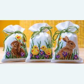 Assortiment kruidenzakjes - Rabbits with Chicks - Handwerkpakketjes met telpatroon Vervaco |  | Artikelnummer: vvc-187096