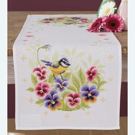 Bird and Violets tafelloper -  borduurpakket met telpatroon Vervaco |  | Artikelnummer: vvc-158401
