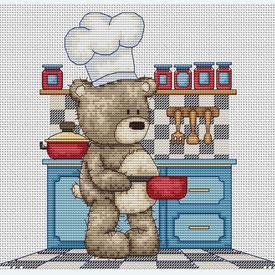 Teddy Bruno - Preparing a Feast  - borduurpakket met telpatroon Luca-S      Artikelnummer: luca-b1089