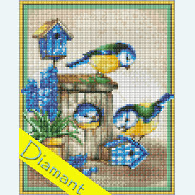 Friendly Birds - Diamond Painting pakket - Diamond Art | Pakket met vierkante diamantjes | Artikelnummer: da-az-1475