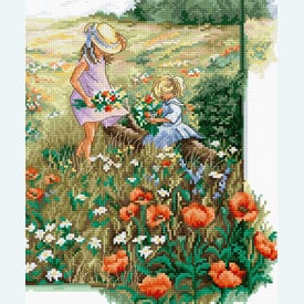 Landscape with Poppies - borduurpakket met telpatroon Luca-S |  | Artikelnummer: luca-bu4013