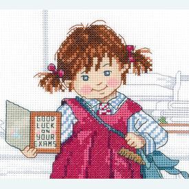 School Girl - borduurpakket met telpatroon Janlynn |  | Artikelnummer: jl-010.0401