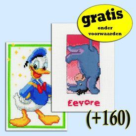 Donald Duck - Eeyore - DUO - Disney borduurpakketten met telpatroon Vervaco | Gratis onder voorwaarden  | Artikelnummer: vvc-19105-051-0-160
