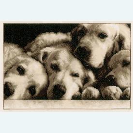 Labradors - kruissteekpakket met telpatroon Vervaco |  | Artikelnummer: vvc-154541