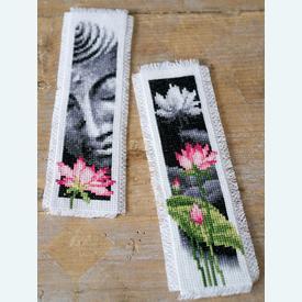 Set van 2 bladwijzers - Lotus and Buddha - Handwerkpakketten met telpatroon Vervaco |  | Artikelnummer: vvc-155652