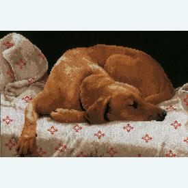 Sleeping Dog - handwerkpakket met telpatroon Lanarte |  | Artikelnummer: ln-164050