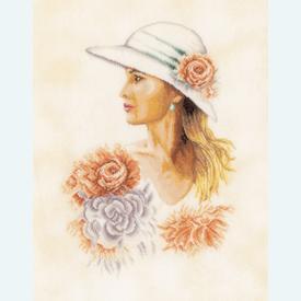 Lady with Hat - borduurpakket met telpatroon Lanarte |  | Artikelnummer: ln-162297