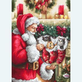 Santa Clause with Kittens - borduurpakket met telpatroon Luca-S |  | Artikelnummer: luca-b602