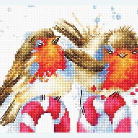 Christmas Birds - borduurpakket met telpatroon Luca-S |  | Artikelnummer: luca-1154