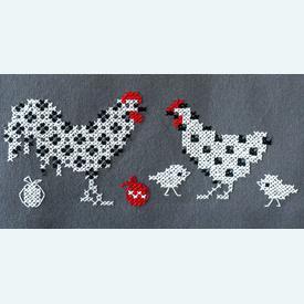 Rooster and Chicken loper - voorgedrukt borduurpakket - Vervaco |  | Artikelnummer: vvc-186090