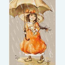 Girl with Umbrella - kruissteekpakket met telpatroon Luca-S |  | Artikelnummer: luca-b1065