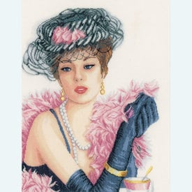 Elegant Lady - borduurpakket met telpatroon Lanarte |  | Artikelnummer: ln-167129