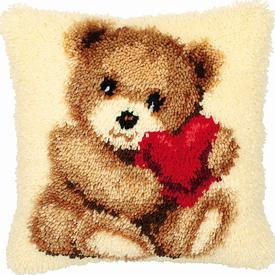 Heart Bear - smyrna kussen Vervaco | Knoopkussen met teddybeertje | Artikelnummer: vvc-2560-3621