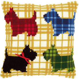 Colourful Doggies with Bow - Vervaco Kruissteekkussen |  | Artikelnummer: vvc-150016