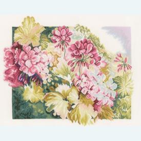 Geraniums by Marjolein Bastin - handwerkpakket met telpatroon Lanarte |  | Artikelnummer: ln-164073