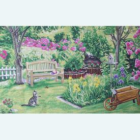 Side Garden - bundel van geschilderd stramien + borduurwol, te borduren in halve kruissteek |  | Artikelnummer: rp-146-079-bundel