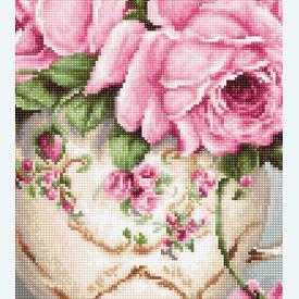 Pink Roses 9 - kruissteekpakket met telpatroon Luca-S |  | Artikelnummer: luca-ba2319