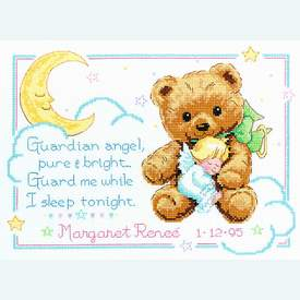 Cuddly Bear Birth Record - borduurpakket met telpatroon Dimensions |  | Artikelnummer: dim-13591
