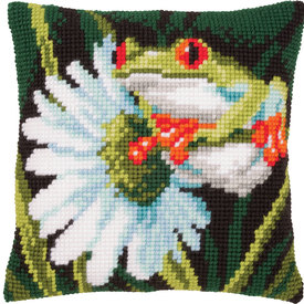 Red-Eyed Tree Frog with Flower - Vervaco Kruissteekkussen |  | Artikelnummer: vvc-145755