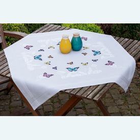 Butterfly Dance theenap - voorgedrukt borduurpakket - Vervaco |  | Artikelnummer: vvc-179025