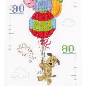 Growing Chart: Travelling - borduurpakket met telpatroon Vervaco  | Groeimeter met beertjes | Artikelnummer: vvc-148197