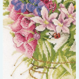 Summer Flowers by Marjolein Bastin - borduurpakket met telpatroon Lanarte |  | Artikelnummer: ln-173516