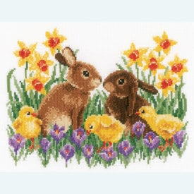 Bunnies with Chicks - handwerkpakket met telpatroon Vervaco |  | Artikelnummer: vvc-163023