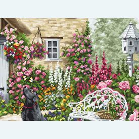 The Cottage Garden - borduurpakket met telpatroon Luca-S |  | Artikelnummer: luca-b2377
