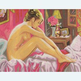 Naked Woman - bundel van geschilderd stramien + borduurwol, te borduren in halve kruissteek |  | Artikelnummer: rp-132-209-bundel