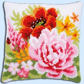 Colourful Flowers - Vervaco Kruissteekkussen |  | Artikelnummer: vvc-184990