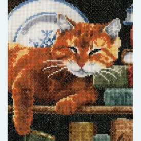 Cat on Bookshelf - borduurpakket met telpatroon Vervaco |  | Artikelnummer: vvc-158440