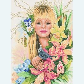 Spring Flower Girl - borduurpakket met telpatroon Lanarte  |  | Artikelnummer: ln-23058