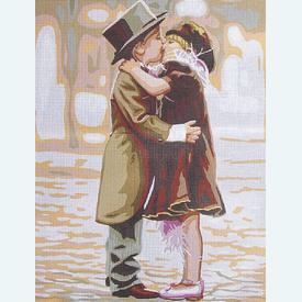 Embrace Me - bundel van geschilderd stramien + borduurwol, te borduren in halve kruissteek |  | Artikelnummer: rp-142-537-bundel