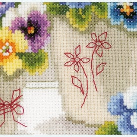 Pretty Pansies - kruissteekpakket met telpatroon Vervaco      Artikelnummer: vvc-146578