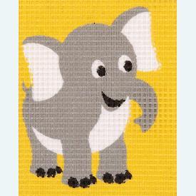 Elephant - halve kruissteekpakket Vervaco | Handwerkpakket voor kinderen, te borduren op geschilderd stramien, in halve kruissteek  | Artikelnummer: vvc-9577