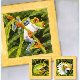 Red-Eyed Tree Frogs - Set van 3 - borduurpakketten met telpatroon Vervaco |  | Artikelnummer: vvc-147135