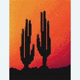 Two Cactusses in the Sunset - borduurpakket met telpatroon Nafra |  | Artikelnummer: nf-nafra21015
