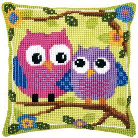 Owls on a Branch - Vervaco Kruissteekkussen |  | Artikelnummer: vvc-21540