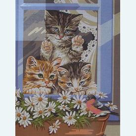 Little Riffraffs - bundel van geschilderd stramien + borduurwol, te borduren in halve kruissteek |  | Artikelnummer: rp-132-067-bundel