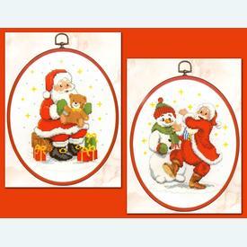Santa - Set van 2 kruissteekpakketten met telpatroon Vervaco |  | Artikelnummer: vvc-74871-2-b